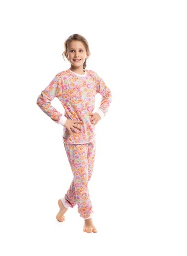 Pamuk & Pamuk Kız Çocuk Pembe Çiçekli Pamuklu Pijama Takımı Renkli